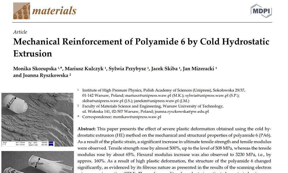 Pierwszy artykuł z wyciskania hydrostatycznego polimerów w naszym Laboratorium